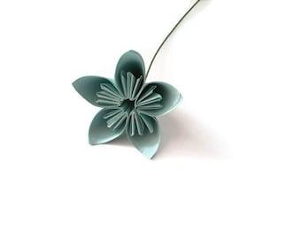 Light Sky Blue Color Kusudama Origami Paper Flower with Stem