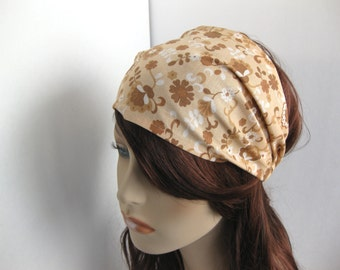 Bohemian Headband Dreadband Womens Headband Gypsy Hippie Headband Bandana Brown Cream White Boho Hair Accessory Womens Gift for Her