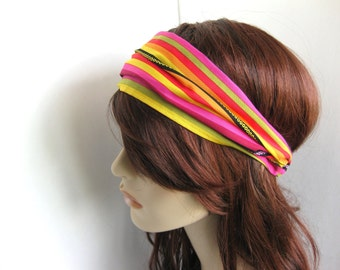 Colorful Striped Summer Headband Women's Head Wrap Summer Festival Bandana Hairband Hair Accessory