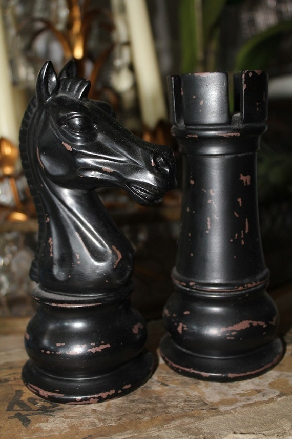 2 large decorative chess pieces the knight and the rook home - Ornamental chess sets ...