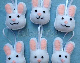 Set of 6 Handmade Felt Easter Bunny Ornaments