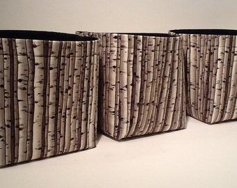 Mini Fabric Storage Basket Bin Organizer Storage Containers (Set of 3)-Birch Trees with Black Interior