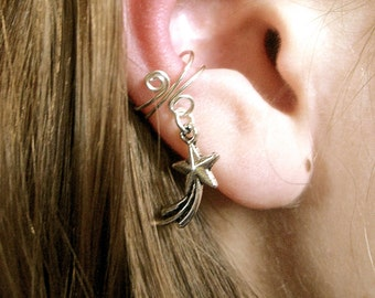 Ear Cuff with Shooting Star Charm, Earring for non pierced ears