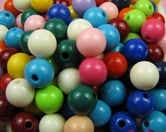10mm Round GUMBALL BEADS in Colorful Resin Acrylic Bead Assortment (40 pieces)