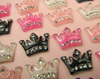 4 Pcs Sparkly CROWN with Crystals Decoden Kawaii Flatback Resin Cabochons 24 x 16mm