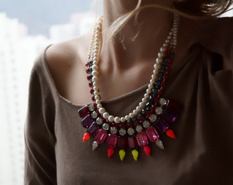Sale - Carmen - Fusion of colours - Swarovski Crystals Statement Necklace, Neon Summer Necklace - Ready to Ship