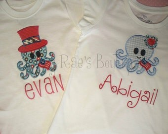 Fourth of July applique shirt- Memorial Day applique- Patriotic-American octopus applique