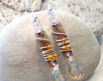 Rustic Sterling and Bronze Drop Wirewrapped Earrings