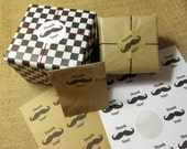 "20 Thank You Mustache Stickers, Your Choice of Kraft or White 2"" Circle Sticker, Peel and Stick"