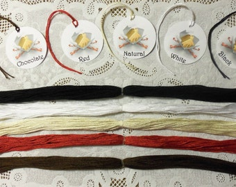 "50 Cotton Tag Strings, Twine, Pre-Cut to 12"" in Natural, White, Black, Chocolate or Red for Gift Tags, Hang Tags"