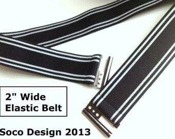 Black White stripe waist belt, Black and White Striped Belt, Reinforced Elastic belt, Plus size belt for Winter Jacke, Coat, Jeans