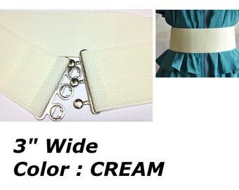 "Wide Elastic Belt, 3"" Elastic Waist Belt, Cream Color Waist Belt  B019"