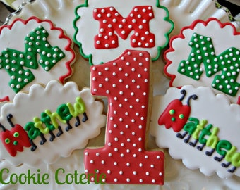 Caterpillar Decorated Cookies Birthday Party Cookie Favors One Dozen
