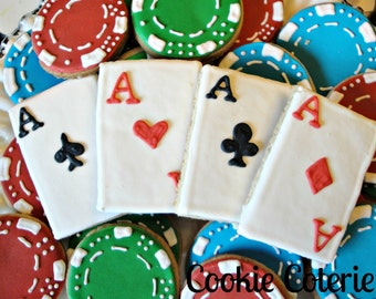 Playing Card Poker Black Jack Casino Decorated Cookies Party Cookie Favors One Dozen