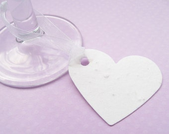 50 x Plantable Seed Heart Favour Tags - Embedded with Flower Seeds - Wedding, Tags, Favours, Table Decor