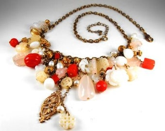 Vintage Beaded Charm Necklace Faux Stones Genuine Pearls