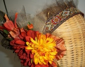 "Tribal Dance Headdress with Gold, Red and Orange Flowers  ""TAKOTSI'S CROWN"""