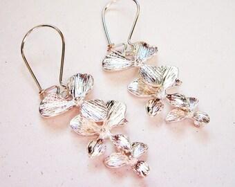 Orchid Flower Earrings, silver earrings, Wedding jewelry, bridesmaid gifts, floral earrings, silver earings, Orchid Earrings