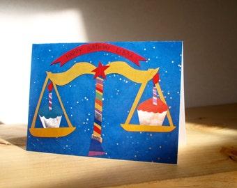 LIBRA BIRTHDAY CARD. one 5x7 photo paper cut card.