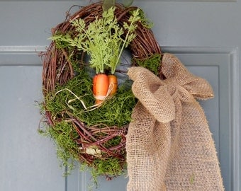 Spring Carrot Basket - Grapevine with Large Bow