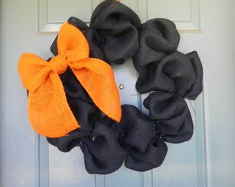 Burlap Halloween Wreath with Orange Burlap Bow - Custom 18''