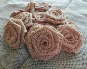Burlap Roses -Group of 10 - party decoration cake topper DIY headband baby photoprop rustic wedding