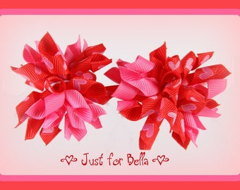 VALENTINE Hearts on Fire --  Korker Dog Bows