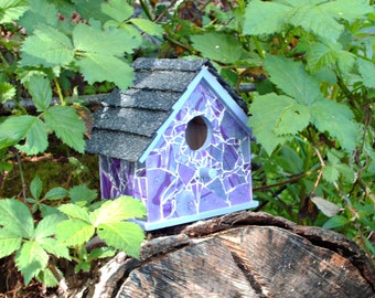 Amethyst Dream Shattered Mosaic Glass Birdhouse
