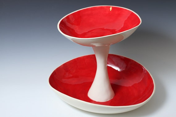 Large Red And White 2 Tiered Fruit Serving Or Display Bowl