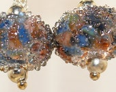 SilverSilk(TM) Wildflower Lampwork Dangle Earrings