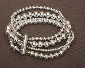 Bracelet - Silver bracelet - Silver bead bracelet - Silver bead bracelet - Multi strand silver bead bracelet