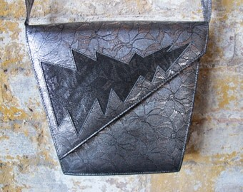 "Lightning Bolts and Lace 80s Vintage Black and Silver ""Lace"" Purse"