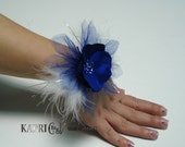 Flower Wrist Corsage/Bracelet-royal blue satin  Flower-Wedding Wrist Corsage-Fabric flower Corsage-Prom,Graduation