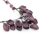 Purple Flower Necklace,  Purple Beaded Necklace, Leaf Necklace, Elegant Nature Jewelry