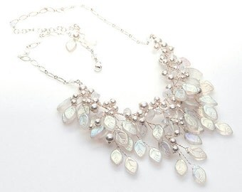 White Floral Bib Necklace with leaves crystals & pearls,  Bridal Necklace, Statement Necklace, Nature Jewelry, Wedding Jewelry, CPJ N269