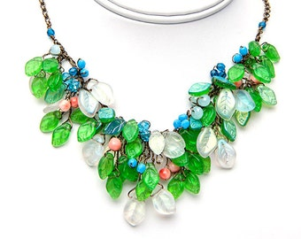 Blue Green Glass Leaf Bib Necklace, Green Nature Necklace, Brides Necklace Set, Bridal Jewelry Set, Green Glass Leaf Dangle Earrings