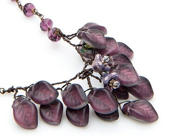 Purple Flower Necklace,  Purple Beaded Necklace, Leaf Necklace, Elegant Nature Jewelry