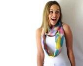 SALE!! Rainbow Silk Scarf - Silk Circle Scarf - Hand Painted Silk Scarf - Unicorn Scarf - Infinity Scarf - Loop Scarf - Mothers Day