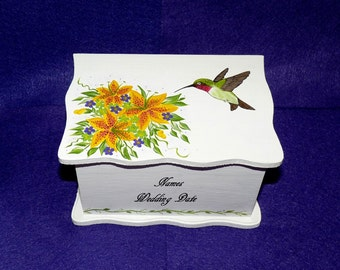 Guest Box Alternative Custom Painted Wood Wedding Advice Box 3x5 Recipe Card Holder Personalized Hummingbird Bridesmaid Bridal Shower Gift