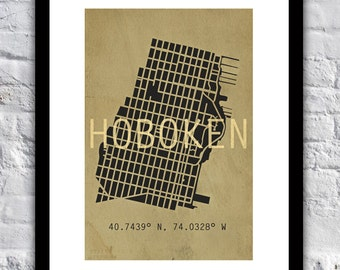 """13"""" x 19"""" Hand-Drawn Vintage Hoboken Grid (Map) with Coordinates"""