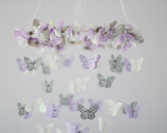 Lavender Butterfly Mobile- Baby Girl Lavender Butterfly Nursery Mobile Room Decor