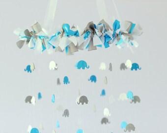 Blue, Gray & White Elephant Nursery Mobile Decor, Baby Shower Gift