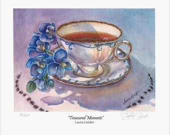 Orchid Teacup Print, Treasured Moments, 5x7 Sm Art Print