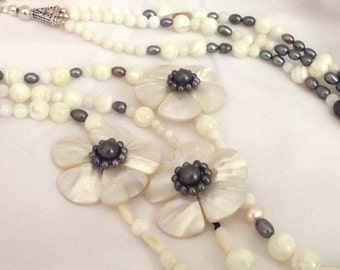 White Necklace / Long Multi-Strand Necklace / Special Occasion Necklace / Gemstone Necklace / Lightweight Long Necklace / Gemstone Jewelry