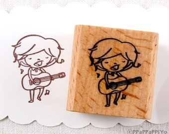 50% OFF SALE Guitar playing boy Rubber Stamp