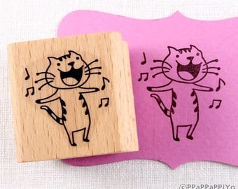 40% OFF SALE singing cat Rubber Stamp