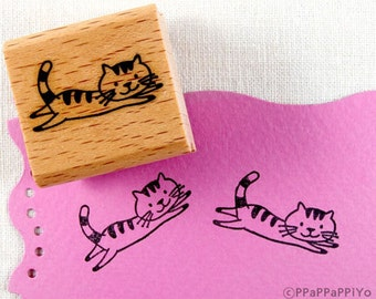 50% OFF SALE running cat 02  Rubber Stamp