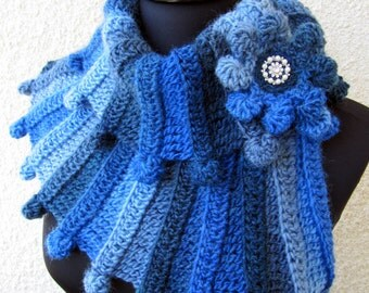 Crochet Scarf PATTERN-Multicolor Scarf Fantasy-Chunky Scarf Pattern-Diy Crafts-Women's Gift-Instant Download PDF Pattern #90-Lyubava Crochet