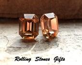 10x8mm Light Colorado Topaz Swarovski Octagon Rhinestone Stud Earrings-Light Colorado Topaz Crystal Studs-Octagon Stud Earrings