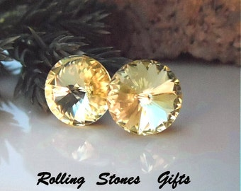 10.5mm Jonquil Swarovski Rivoli Rhinestone Stud Earrings-Light Yellow Crystal Studs-Jonquil Crystal Earrings-Stud Earrings